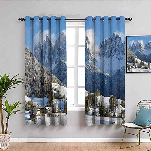 ZLYYH Patio Door Blinds Snow mountain town tree scenery W66 xL54 Blackout Curtain Soft Solid Thermal Insulated Ring Top Decorative Curtain with Grommets for Living Room Bedroom Nursery Room 2 Panels