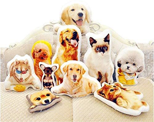 deutschwaren Personalisiertes Kissen mit individuellem Bild 3D Tierkissen Doppelseitiges Farbig Bild Foto Bedrucken Kissen Haustierkissen für Hund und Katze (42cm)