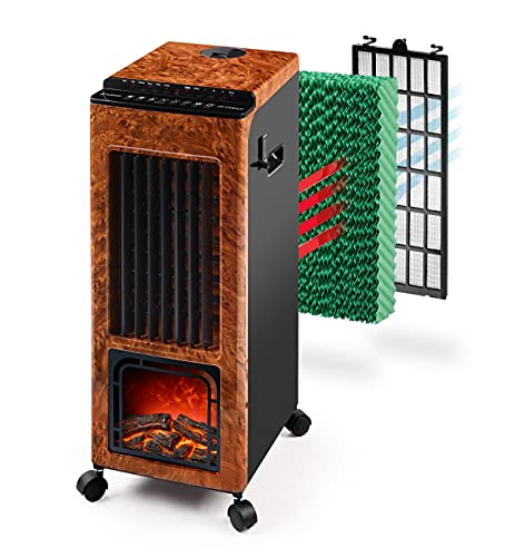 Climatizador Evaporativo Calefactor Ventilador Humidificador Portátil - Frío 80W - Calor 1000W - 2000W