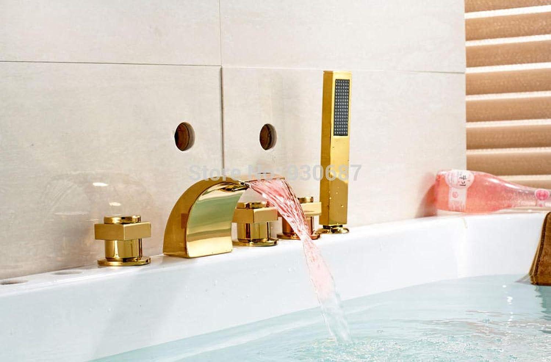 Wasserfall LED Gold Finish Badewanne Wasserhahn drei Griffe Centerset Mischbatterie