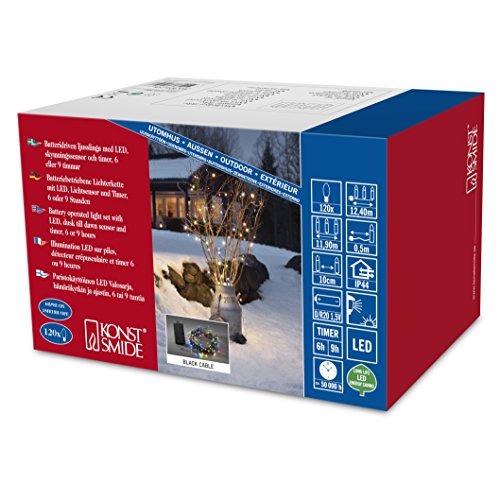 Konstsmide 3729-500 Guirlande d'Eclairage Extérieur sur Pile avec Interrupteur 120 LEDs Multicolore Câble Noir