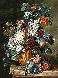 Berkin Arts Jan Van Huysum Giclée Toile Imprimer Peinture Affiche Reproduction (Bouquet de Fleurs dans Une urne)
