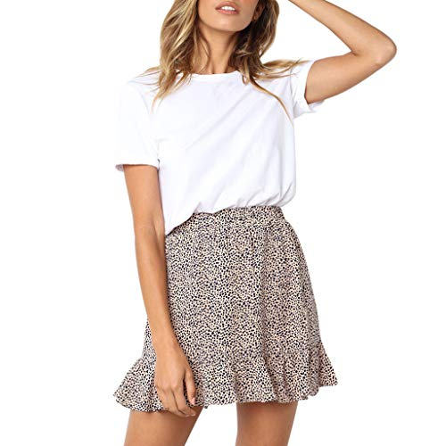 beautyjourney Falda Corta con Volantes de Leopardo para Mujer Falda Plisada Falda Cruzada de Fiesta en la Playa Minifalda Faldas Skater de Cintura elástica