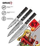Samura Chef - Juego de 3 cuchillos esenciales de acero japonés y plástico ABS de Damasco Dureza 61 HRC…