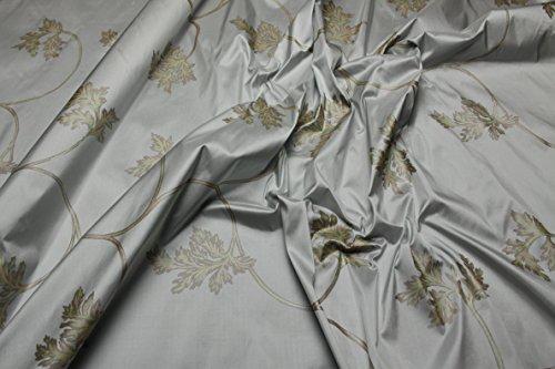 Escalano Dupion Seide Wildseide Glänzend Bluse Kleid Schal Umhang Nachtkleid Silk Stoffe (SE32 Helltürkis Silber)