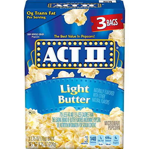 Best Bargain ACT II Light Butter Microwave Popcorn Bags, 3-Count (Pack of 12)