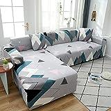 WXQY Fundas geométricas Funda de sofá elástica elástica Funda de sofá de protección para Mascotas Esquina en Forma de L Funda de sofá Todo Incluido A16 3 plazas