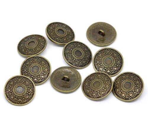 SiAura Material 10 Stück Metallknöpfe, antikbronze, Keltik-Muster, Ø ca. 25mm, Lochgröße 2,6mm
