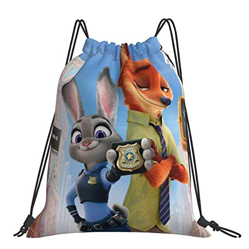 Crazy Animal City Cottontail Rabbit Red Fox Sack Drawstring Backpack Outdoor Portable Backpacks Large Capacity School Bag Canvas Sports Swimming Travel Beach Unisex Rucksack
