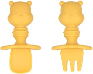Bumkins Disney Silicone Chewtensils, Baby Fork & Spoon Set, Training Utensils, Baby Led Weaning Stage 1 for Ages 6 Months+ Winnie The Pooh