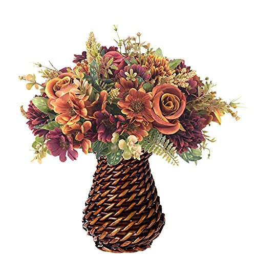 INQCMY Artificial Flowers with Vase,Silk Flower Arrangements,Artificial Rose Bouquets in Ceramic vase for Home Office Table Kitchen Desktop Dinning Room Decoration (Brown)