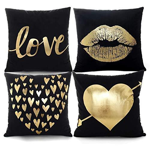 YNester 4pcs Fundas para cojines de franela doradas decorativas almohada, fundas de cojín, funda de cojín bronceadora para cama, sofá, regalo, poliéster fundas negra, 45 x 45cm
