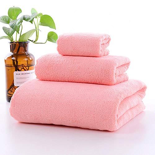 Toalla de baño Grande Beige,Toalla de baño de Lana de Coral, Toalla Suave para la Cara (Juego de 3 Piezas) -Polvo,Colores Resistentes Toallas de baño de algodón