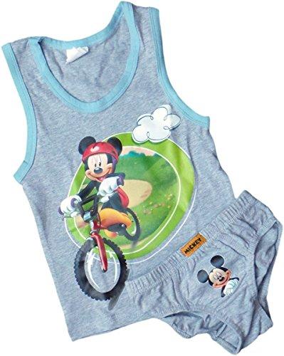 Disney Micky Maus Unterhemd Tank Top und Boys Slip im Set - Mickys Fahrradtour - Grau/Mehrfarbig
