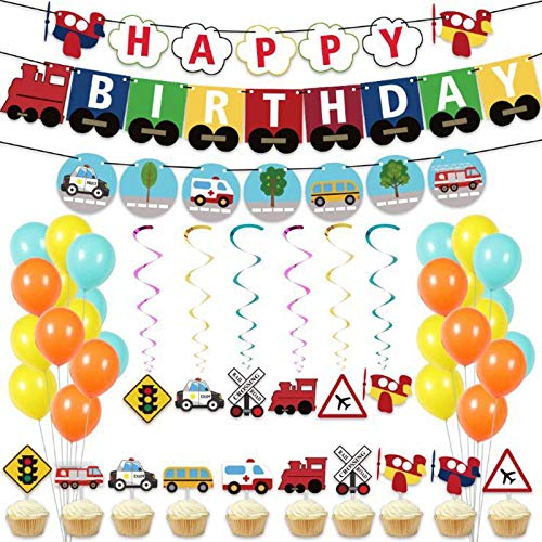 Heritan Juego de globos temáticos de coches de transporte con texto en inglés 'Happy Birthday', guirnalda de tren de la escuela, autobús de bombero, decoración de
