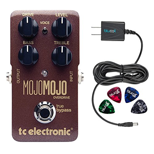 TC Electronic MojoMojo Overdrive Pedal for Electric Guitars Bundle with Blucoil Slim 9V Power Supply AC Adapter, and 4-Pack of Celluloid Guitar Picks