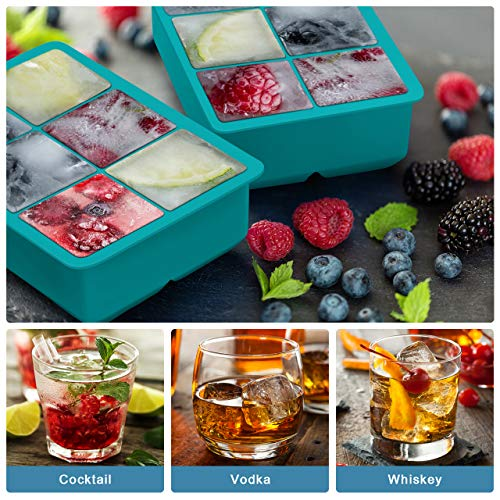 Product Image 1: Kootek Ice Cube Trays 4 Pack – Silicone Ice Tray for Making 24 Pcs Large Ice Cubes, Easy Release Reusable Molds Maker with Removable Lids for Chilling Whiskey Wine Cocktail Beverages (Green and Red)