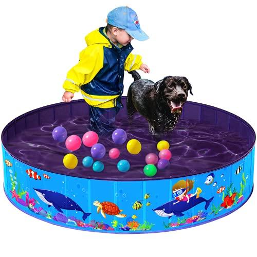 Hard Plastic Kiddie Pool – Large Plastic Dog Pool, Foldable Dog Pet Bath Pool Portable Dog Swimming Pool Bathing Tub Hard Plastic Kids Pool for Kids Dogs and Cats