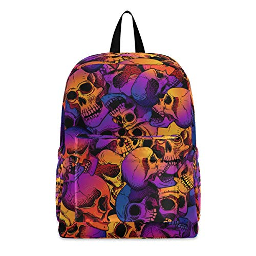 Casual Backpack Lightweight Daypack Skulls School Backpack Travel Men Women