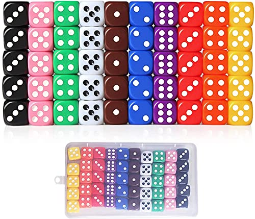 Lvcky 50Pcs 6 Sided Bright color Dices Dotted Low price Dice Game Set With Velvet Bag Bar KTV Party Math tutoring 16mm Mixed Color Great alternative to standard game dice