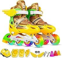 Lixada Verstelbare inline skateset, inline skates met beschermende uitrusting (kniebeschermers, ellebogen, helmen,...