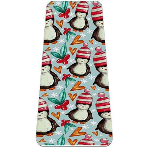 Pingüino de Acuarela Esterilla de Yoga TPE Lindo tapete Antideslizante para el Suelo con Bolsa para Mujeres Hombres niños Adultos 183x61cmx0.6cm