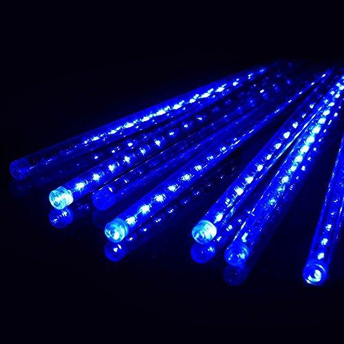 Ecloud Shop® LED Météores Douches de Fête, 30cm 8 Tube LED Guirlandes Ficulaires Chute de Pluie Goutte Glaçon Neige Automne Chaîne Lumières Étanches pour les Fêtes de Noël Arbre Valentine Décor (Bleu)