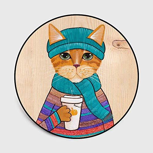 Jkckha antideslizante Manta de área de Soft Mat cubierta alfombra de dibujos animados acuarela vasos de bebida de café Niños del gato Dormitorio Sala de Ronda habitación en el piso alfombra de la este