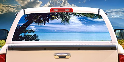 SignMission Beach Scene Rear Window Graphic Decal Tint Film Back View Thru Vinyl, 22' X 65'