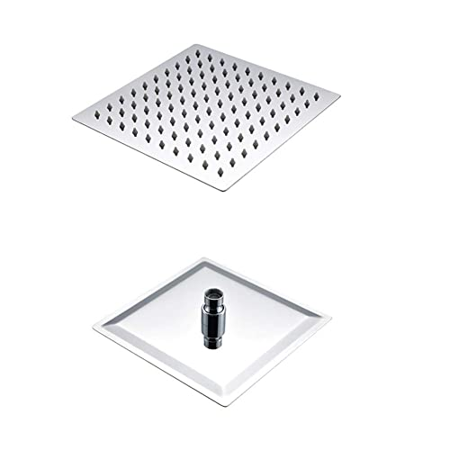 Artbath 8 Inch Square Rain Shower Head High Pressure Water Saving 304 Stainless Steel Fixed Mount with Swivel 1/2 Metal Ball Connector,Chrome