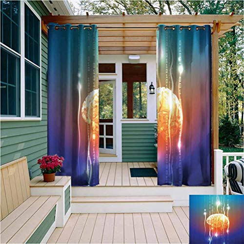 Fantasy Decor Outdoor Privacy Curtain for Pergola Stream of Binary Digits Leaking from Abstract Brain Mental Creativity Theme Print Room Darkened Multi W54 x L63 Inch