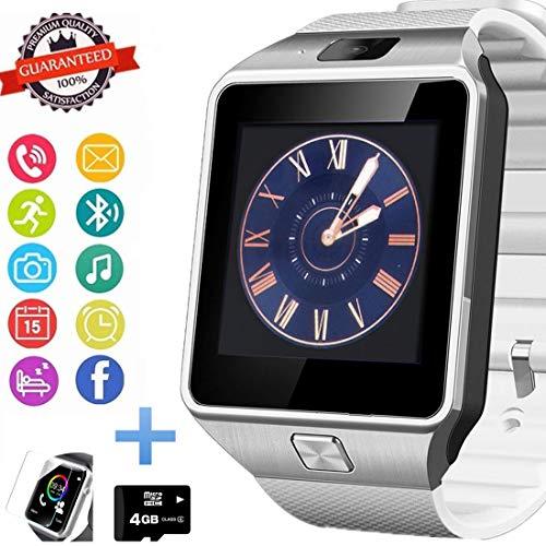 Smartwatch Bluetooth con slot per scheda SIM, pedometro, fotocamera, touch screen, per smartphone Android, Huawei, Samsung, HTC, Sony, LG, Google Pixel e iOS iPhone (funzione parziale)