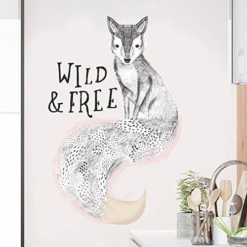 WandSticker4U- XL Wandtattoo Mrs. FUCHS I Wandbilder: 68x107 cm I Wand-aufkleber Art Hand Zeichnung Fox Tiere Portrait Poster I Deko für Wohnzimmer Kinderzimmer Küche Garderobe Flur Tür Möbel