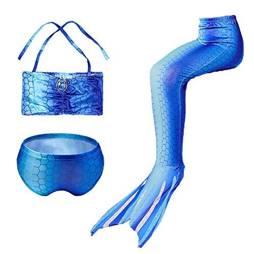 3pcs Meisjes Badpak Zeemeermin Staart Badmode Bikini Set Kostuum Om Te Zwemmen, Hoog Elastisch, Zacht En Comfortabel, Voor 2-13 Jaar Oude Meisjes