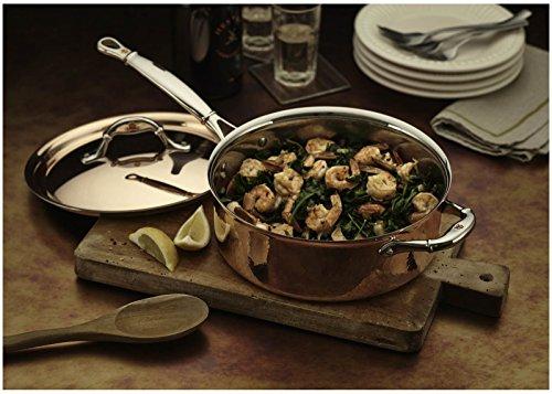 Ruffoni Symphonia Cupra Triply Copper Stainless Steel Saute Pan / Frying Pan with helper handle - 4 Quart, Brown