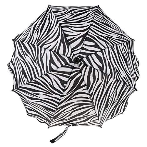 Strand Sonnenschirm Faltbar Strandschirm Balkonschirm für Sommer - Zebra-Streifen, wie beschrieben