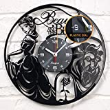 """Vinyra Vinyl Wall Clock Compatible with Walt Disney Princess Belle Beauty and The Beast Themed Home - Gift Idea for Adults, Girls and Women Nursery Kids Room Wall Art Decor 12"""" LP Record Clock Black"""
