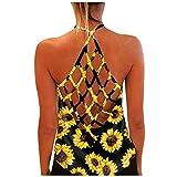 Youmymine Women Sunflower Print Vest T-Shirt Tank Tops Summer Ladies Sleeveless Crew-Neck Backless Blouses (L, Yellow)