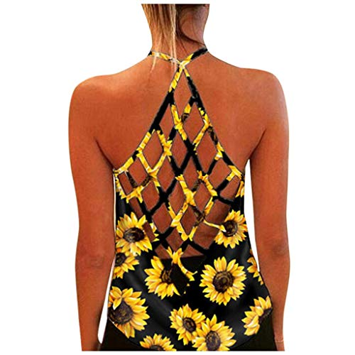 Workout Tank Tops for Women Summer Sunflower Print Camis Tops Sexy Criss Cross Open Back Yoga Shirts Activewear Yellow