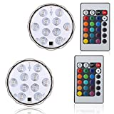 Creatrek LED Tea Light Submersible Tub SPA Lamp Color Changing/LED Lotus Light Flower Lamp for Garden Pathway Vases Bowls Coaster Pond Fish Tank Fountain Ice Buckets Bathtubs Hot-tubs Trees (2)