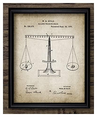 CBYLDDD Abogado Lady Justice Ley Derecho Patente Pósters e Impresiones Escalas de Justicia Abogado Regalo Arte de Lona Lienzo Abogado Oficina Decoración de la Pared 16x24in Sin Marco