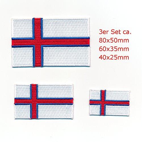 3 Färöer Inseln Schafsinseln Tórshavn Flaggen Flags Aufnäher Aufbügler Set 1023
