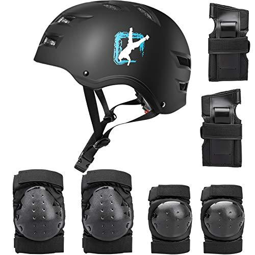 Skate Helmet,Kinderhelm Skaterhelm Bike Helmet Radhelm Kinderhelm Sporthelm CE-Zertifizierung Schützer für Fahrrad Rollschuh Skateboard Longboard (Schwarz Set, Groß)