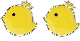 Cute Girl's Yellow Enamel Chicken Stud Earrings 2017 New hot Sale Lovely Animal Earrings