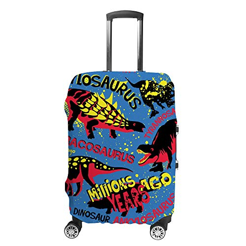 Ruchen Suitcase Cover Grunge Style Dino Dinosaur Blue Luggage Cover Protective Covers Travel Elastic Trolley Suitcase Protector M Fits 22-24 Inch Luggage