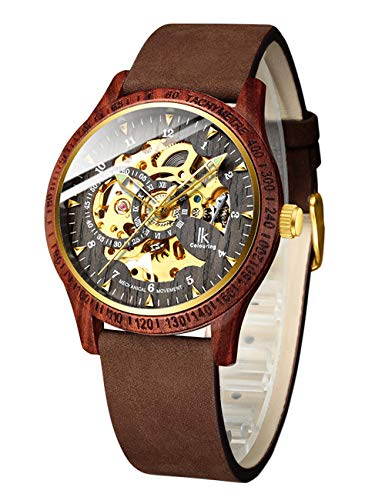 Mens Wooden Watches, Automatic Mechanical Wood Wrist Watch, Luxury Skeleton Wood Watches for Men with Genuine Leather Bracelet - Red