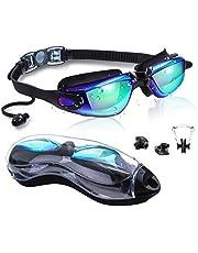SGODDE Zwembril, waterdicht, anti-condens, uv-bescherming, gepolariseerd, verstelbare riem, comfort, professioneel, met beschermetui, neusklemmen, oordopjes, uniseks, volwassenen, heren, dames, blauw