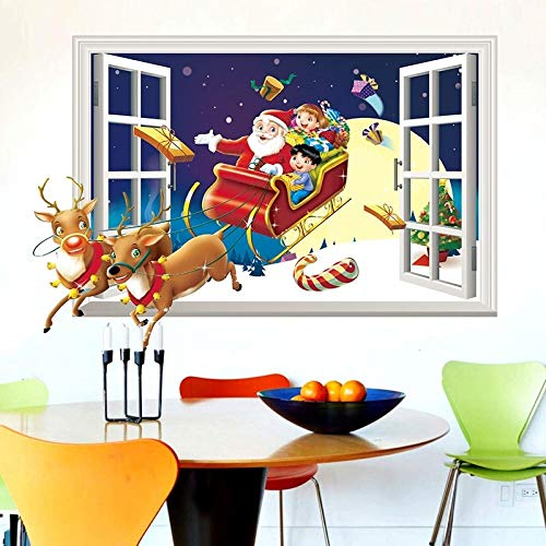 EyeglassesZHY 50x70 Cmchristmas Window Decorations, 仿真3D假窗圣诞老人来了墙贴 卧室客厅喜庆背景装饰墙贴纸 Christmas Decals, Christmas Decorations, Christmas Window Clings, Xmas Window Decorations, Christmas