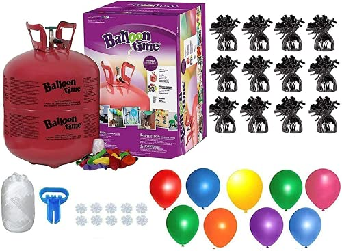Helium Tank with 50 Balloons and White Ribbon + 12 Black Balloon Weights + Plus Balloon Tying Tool