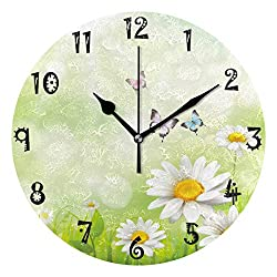 Baofu Round Wall Clock Vintage Flower Butterfly Colorful Silent Non Ticking Battery Operated Accurate Decorative for Kitchen Living Room Bedroom Office(10 Inch)